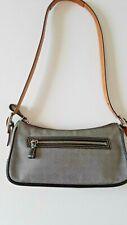 COACH Vintage Black & Gray Classic Mini Check Shoulderbag Leather & Canvas Women