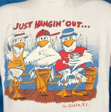 vintage 80s ST. CROIX CARTOON SEAGULL BEACH T-Shirt SMALL virgin islands surf