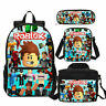 Roblox 4pcs School Backpack Lunchbox Crossbody Bags Pen Case For Child Gift Lot