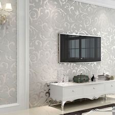 Waterproof 3D Embossed Wallpaper Roll Glitter Effect Silver 10M Living Room UK