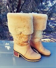 ~Reduced~1970S Leather & Lambswool Shearling Boots True Vintage Size 6~