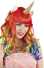 Rainbow Unicorn Fancy Dress Costume Fairytale Fantasy Wig with Horns and Ears