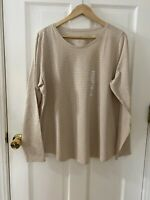 Sonoma Size 2xl 16/18 Striped Cream And Glitter Long Sleeve Every Day Tee Crew N