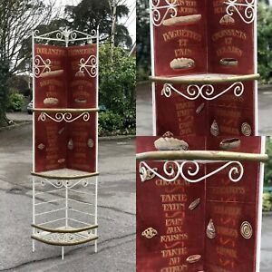 Metal Corner French Bakers Rack / Shelves With Hand Painted Decoration