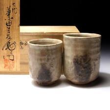 @Cr45 Vintage Japanese tea cups, Hagi ware by 1st Class Potter, Sanzaemon Kaneta