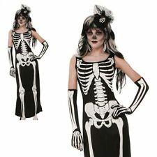 Adult Ladies Skeleton Long Tube Dress Costume Halloween Fancy Dress Womens