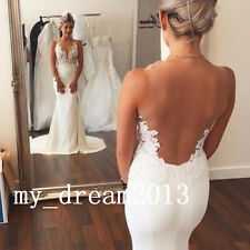 New Lace Mermaid Wedding Dresses See-through Back Bridal Gown Prom Deb Custom