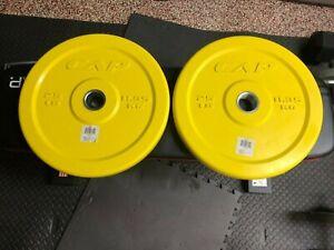 "NEW (2) 25lb CAP 2"" Barbell Yellow Bumper Plates - 50lb Total Olympic Free Ship"