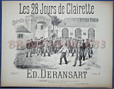 OPÉRA QUADRILLE PIANO GF PARTITION DERANSART 28 JOURS DE CLAIRETTE VICTOR ROGER