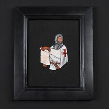 Tin bas-relief,knight templar, in a frame.