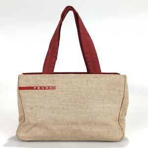 100% authentic Prada tote bag handbag canvas used 1239-3-e@1