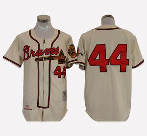Atlanta Braves #44 Hank Aaron Cool Base 1957 Men's Stitched Jersey