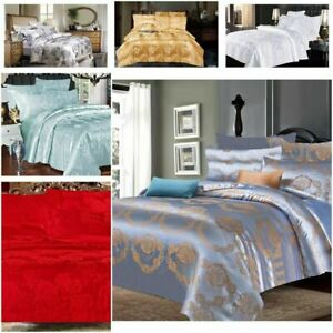 Jacquard Duvet Cover Silk Bedding Sets with Fitted sheet and Pillowcases D/K New