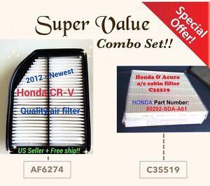 Combo Set for HONDA CRV 2012-14 CR-V Premium Engine & Cabin Air Filter 6274 19