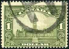Canada #159 used F 1929 Scroll Issue $1 olive green Parliament Building CV$60.00