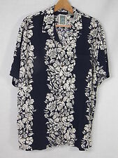 OCEAN CURRENT HAWAIIAN SHIRT White Hibiscus on Navy Blue Large Rayon S/S