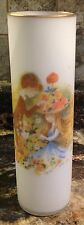 VINTAGE NAPCO FROSTED GLASS VASE BOY PUTTING FLOWERS IN GIRLS HAT SIGNED FOSTER