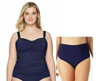 Anne Cole Navy Bandeau Tankini & 3-Way Convertible Brief Plus 18W Swimsuit NWT