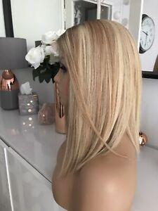 "Balayage Blonde Lace Long Bob 14"" Ombre Highlights 100% Virgin Human Hair Wig"