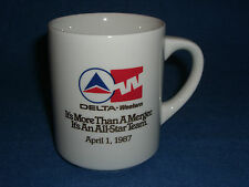 Vtg 1980's DELTA WESTERN AIRLINES MERGER  Mug Ceramic Dated April 1, 1987 RARE