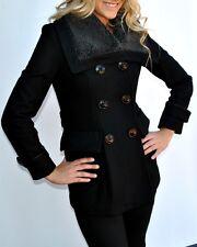 Miss Sixty Wool Blend Coat Peacoat Black Medium NWT