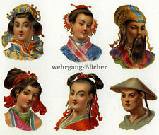 6 Vintage Victorian die cut paper scraps, Chinese portraits, from ca. 1880.