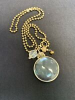 """Vintage Magnifying Glass Pendant Necklace Signed Avon Brass Chain  30""""Jewelry"""