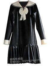100% Latex Rubber Gummi Dress 0.45mm Skirt Uniform School Girl Suit Catsuit New!