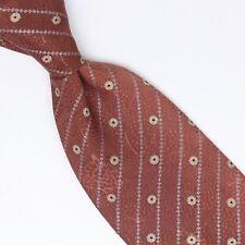 Brioni Silk Necktie Mauve Blue Metal Silver Stripe Dot Print Made in Italy Tie