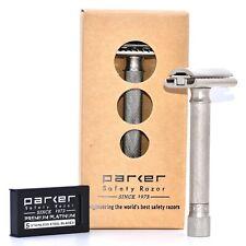 Parker Variant ADJUSTABLE Safety Razor & 5 Double Edge Blades - Satin Chrome