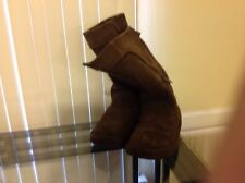 UGG SIZE 4 WOMEN'S RETRO CARGO SHEEPSKIN TALL 5195 BLACK SUEDE WITH LEATHER BOOT
