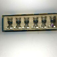 Cristallerie Artistiche Decorate Boot shaped Shot Glasses (6) Vintage Barware