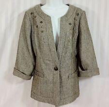 COLDWATER CREEK SZ 12 or 14 Brown Metallic 3/4 Sleeve Blazer Jacket Coat
