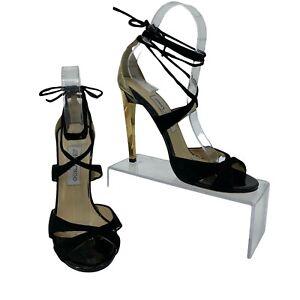 Jimmy Choo Stiletto Pumps Size 38 US 8 Black Reflective Gold Heel Ankle Tie