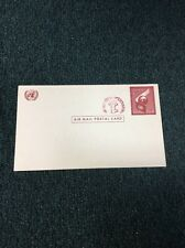 UX1 FIRST UNITED NATIONS POST CARD WITH INVERTED SURCHARGE At The Top. Scarce