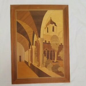 Mid Century Modern Vintage Wooden Marquetry Wood Inlaid Picture made in Italy