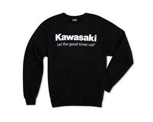 Kawasaki Let The Good Times Roll Crew Neck Black Sweatshirt K002-1511-BK