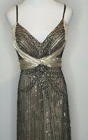 Mr K Maxi Sequin Bead Silk Formal Evening Gown Dress / Size 14