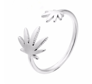 Marijuana leaf silver toe ring