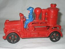 Cast Iron Toy Fire Fighter Engine Steam Pumper Truck Car w/Driver