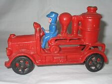 Cast Iron Toy Fire Fighter Engine Steam Pumper Truck Car w/Driver