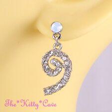 Vintage Deco Sparklling Silver Spirals Drop Earrings w/ Opal Swarovski Crystals