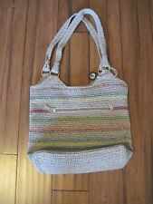 THE SAK Crochet Knit Shoulder Bag Large Hobo Purse Rainbow Multi-Color Boho