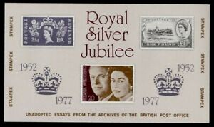 Great Britain 1977 MNH Silver Jubilee Essays s/s, Stampex