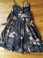 STUDIO M Women'sBlack & beige Floral Cotton Wide Tie Waist Faux Wrap Sun Dress L