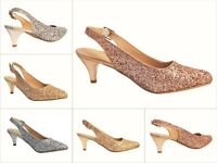NEW LADIES GLITTER SPARKLY LOW KITTEN HEEL FULL TOE SANDALS SHOES PUMPS