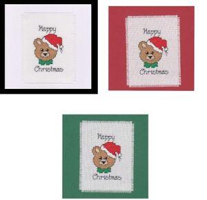 Christmas Cross Stitch Card Kit - Teddy