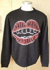 Jimmy Roos Italian wool crew neck sweater lip mouth design XL FABULOUS!