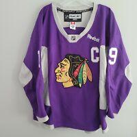 Rare Reebok NHL Chicago Blackhawks Jonathan Toews 19 Purple Jersey Mens 48 XL