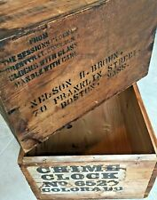 ANTIQUE Sessions & Colorado Clock LOT Wooden Crates Advertising Clocks Box